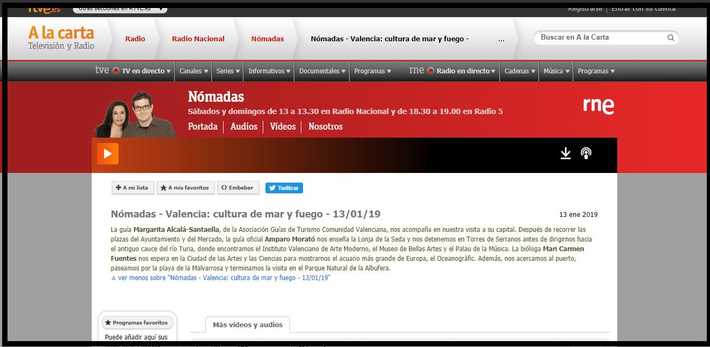 RNE Nomadas. Valencia: cultura de mar y fuego Enero 2019